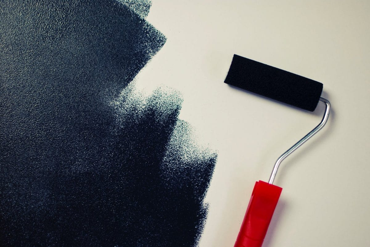 paint roller with black paint